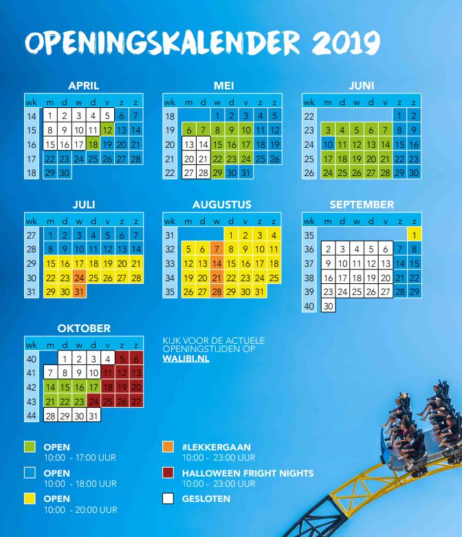 openingstijden walibi holland
